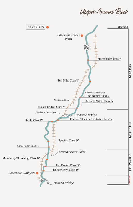 Upper Animas River Rafting Map - Mild to Wild